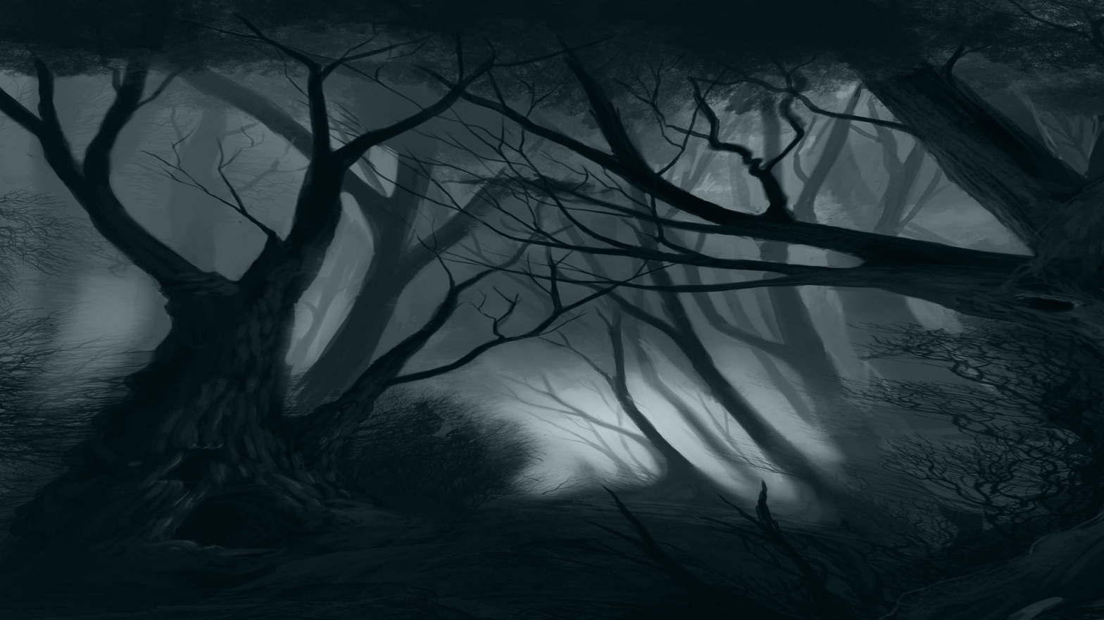 Poetry Dark forest, shadowed and misted