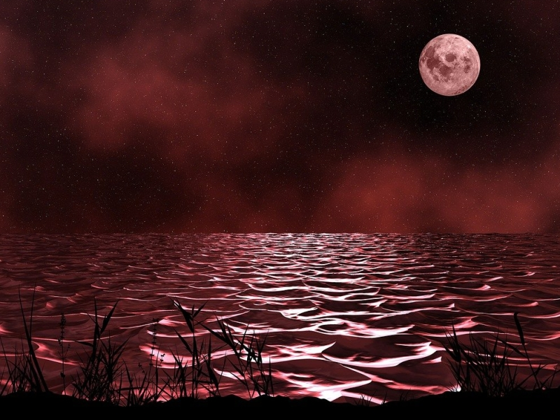 Poetry Red blood body of water the tips of the waves highlighted by the reflection of a blood red moon in a black sky with clouds tinged in red