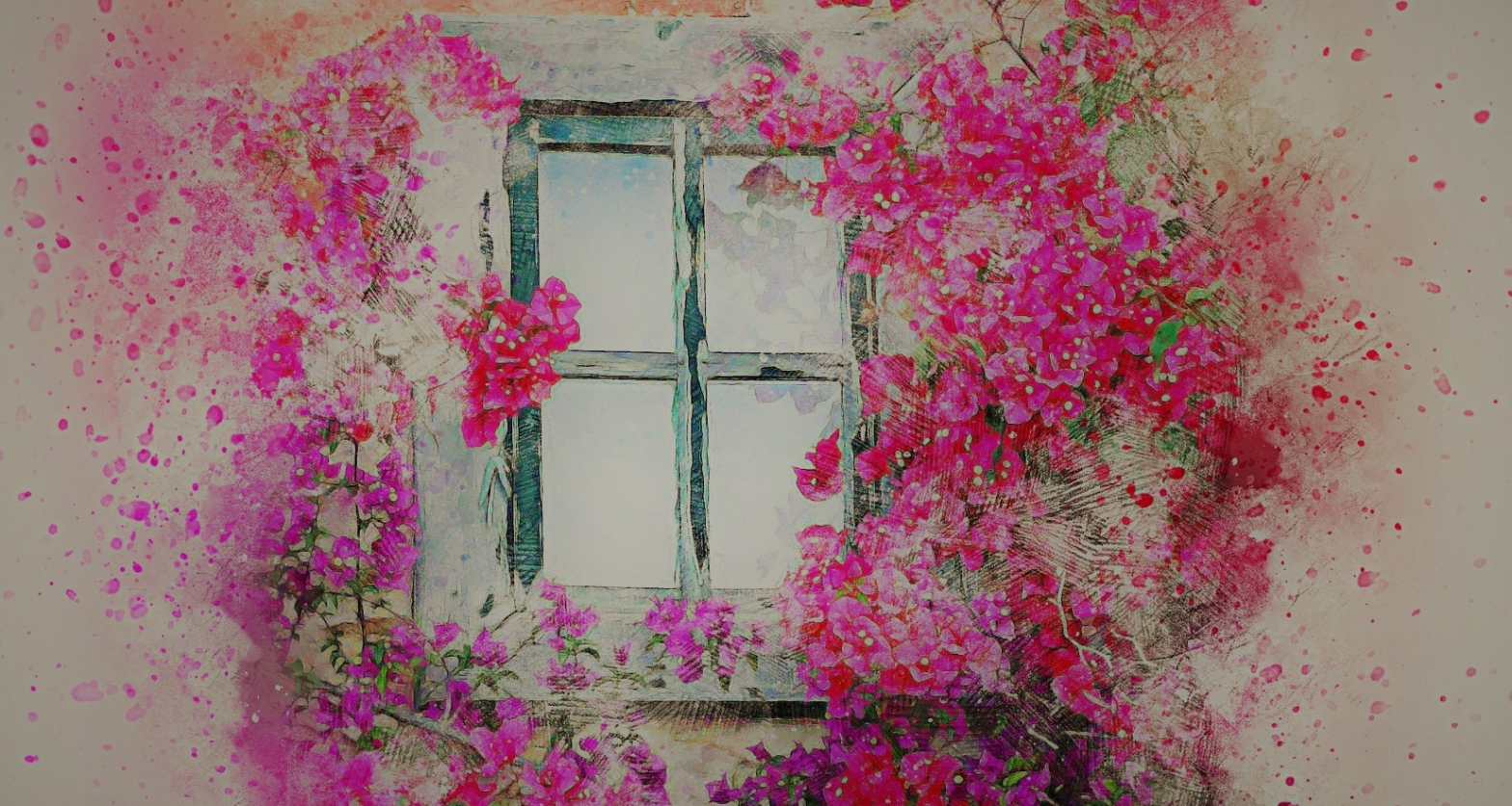 Poem A painting of a window wreathed in playful pink and purple flowers with a white backdrop of splashes of pink and orange paint